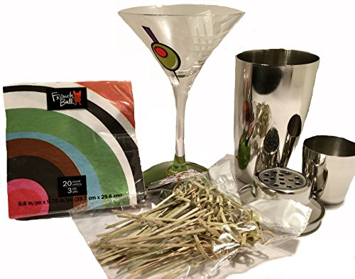 Green Olive Martini Glass Bundle with Metal Cocktail Shaker, Beverage Napkin and Bamboo Food Picks