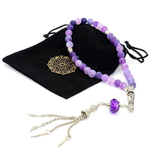 New Purple Frost Fire Agate Stone Prayer Beads, Worry Beads (8 mm, 33 Beads) Sibha - Tesbih - Tasbih - Misbaha - Dhikr Beads - Rosary ()