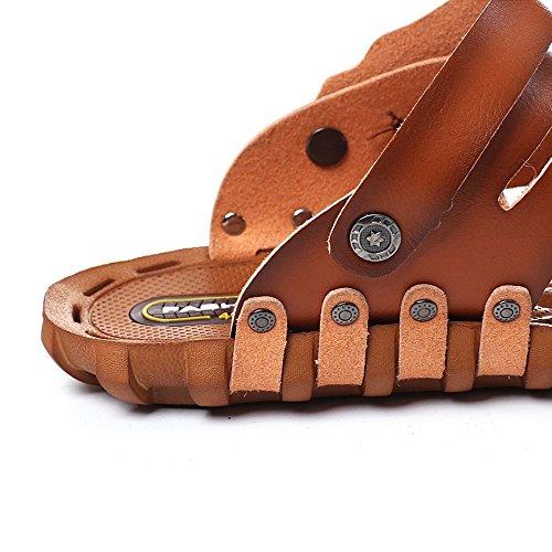 da con Marrone pelle in in EU punta 41 BINODA Sandali spiaggia Pantofola Marrone chiusa leggera Color Dimensione Sandali microfibra da uomo 7Svgaxq