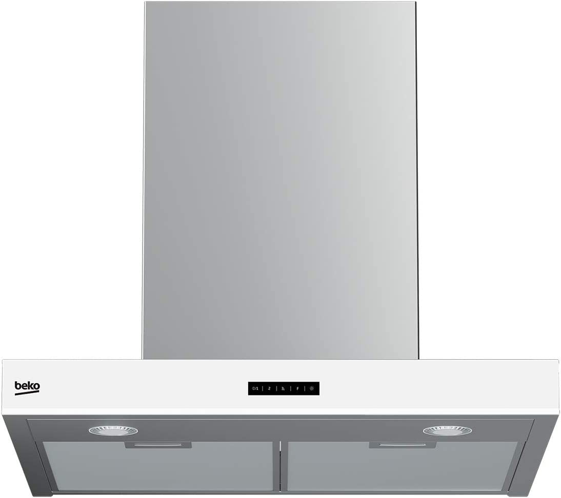 Beko HCB62741BWH De pared Acero inoxidable, Color blanco 730m³/h D - Campana (730 m³/h, Canalizado, 64 dB, De pared, Acero inoxidable, Blanco, 2 bombilla(s)): Amazon.es: Hogar
