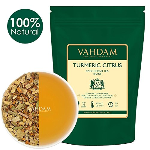 Turmeric Citrus Spice Herbal Tea Tisane (100 Cups) 3.53oz (Set Of 2 ), ABUNDANT IN ANTI-OXIDANTS & PHYTO-NUTRIENTS, Turmeric with Bergamot, Lemongrass, Ginger & Garden Fresh Spices, Packed in India