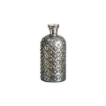 Jarrón Botella de Cristal Plateado Vintage para decoración Factory - LOLAhome: Amazon.es: Hogar