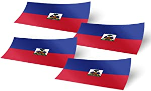 Haiti 4 Pack of 4 Inch Wide Country Flag Stickers Decal for Window Laptop Computer Vinyl Car Bumper Haitian