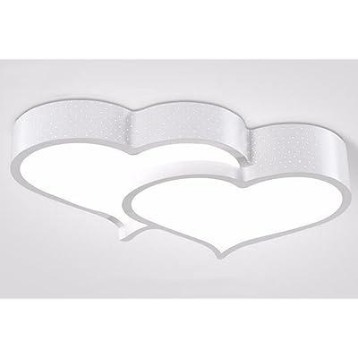 LighSCH Lampes de Plafond Accueil moderne Led Heart-Shaped Mariage chambre à coucher enfants lampe 30W gradateur 3 couleurs blanc 54*40*9cm