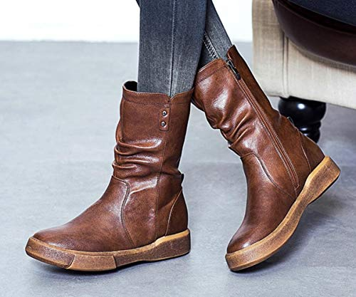 New Short Wild Women's Style Artificial Platform Brown Shiney Waterproof Flat British Plush Thick Boots Retro Martin 0tYqO1