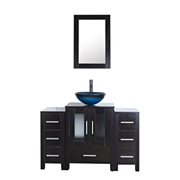Goodyo 48inch Modern Bathroom Vanity Cabinet Set With Round Glass