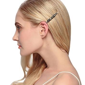 40015a37b Amazon.com : Clear Sparkle Rhinestone Crystal Hair Barrette Clips Durable  Dress Up Hair Pins (Black) : Beauty