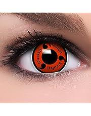 FUNZERA®[Sharingan] Lentilles de Contact de Couleur Rouge-Noir'Naruto' + Récipient Gratuit -Sans Correction- Qualité de la Marque - Une bonne Idée de Costume pour le Halloween ou Cosplay