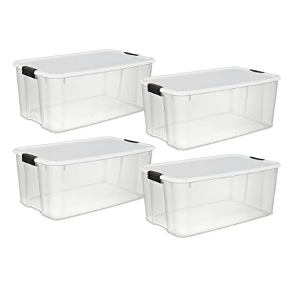 STERILITE 19909804 116 Quart/110 Liter Ultra Latch Box, Clear With A White  Lid