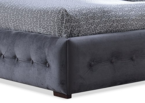 Baxton Studio Wholesale Interiors Margaret Modern and Contemporary Grey Velvet Button-Tufted Queen Platform Bed, Queen