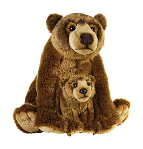 Mother Grizzly Bear - National Geographic Stuffed Animals Plush Toy (2 Piece), Mother with Baby Grizzly NSG