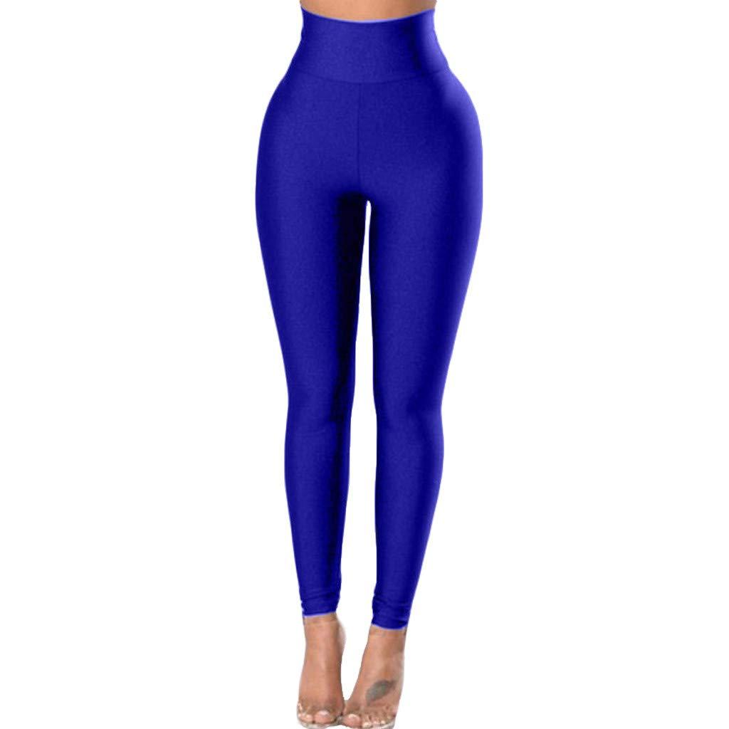 HCFKJ Faja De Color Puro para Mujer Pantalones De Yoga para ...