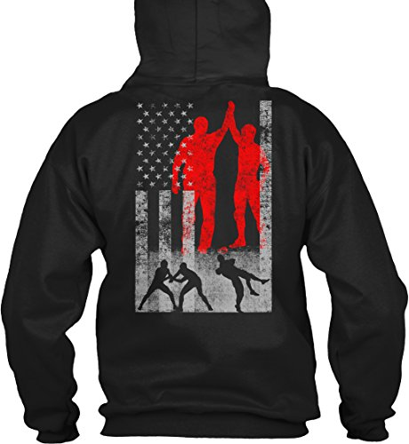 teespring Wrestling Flag Sweatshirt - L - Black - 50% Cotton, 50% Polyester - Gildan 8oz Heavy Blend Hoodie by teespring