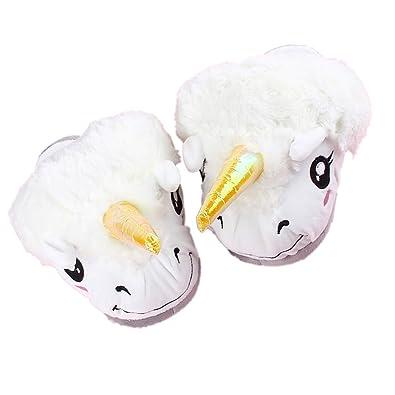 Maofacegirl lindo invierno de algodón fantasía unicornio zapatillas de felpa para adultos Zapatillas de interior suave calientes zapatos interesantes (Color de la foto) IJnzGE