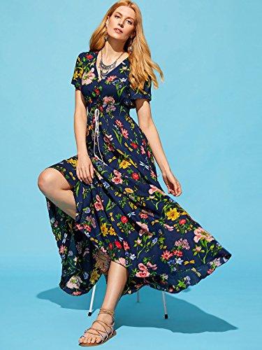 Milumia Flowy Maxi Split Floral s Button Print Dress Women Party Blue up rOxqfRrw