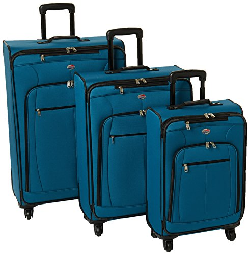 American Tourister Pop Plus 3-Piece Softside (SP21/25/29) Luggage Set with Multi-Directional Spinner Wheels, Moroccan Blue American Tourister Ilite Luggage