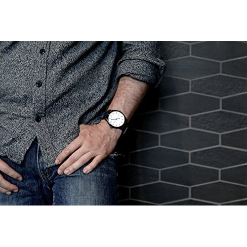 The Nomatic Leather Band Water Resistant Watch - White and Black