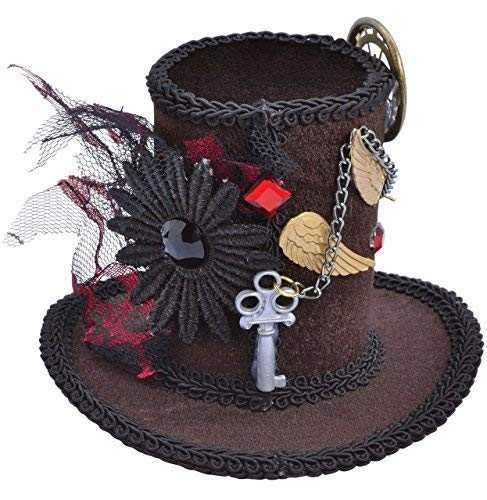 Ladies Steampunk Victorian Mad Hatter Halloween Mini Hat Fancy Dress Party Costume Outfit Accessory (One Size)]()
