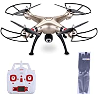 Syma X8HW - Quadcopter RTF WIFI FPV RC Drone (2.4G, 4 Channels, 6-Axis Gyro, with LED Real-time Camera, 100M Control Distance, Barometer Altitude Hold, 2000mAh Battery) Golden