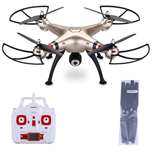 Syma-X8HW-Quadcopter-RTF-WIFI-FPV-RC-Drone-24G-4-Channels-6-Axis-Gyro-with-LED-Real-time-Camera-100M-Control-Distance-Barometer-Altitude-Hold-2000mAh-Battery-Golden