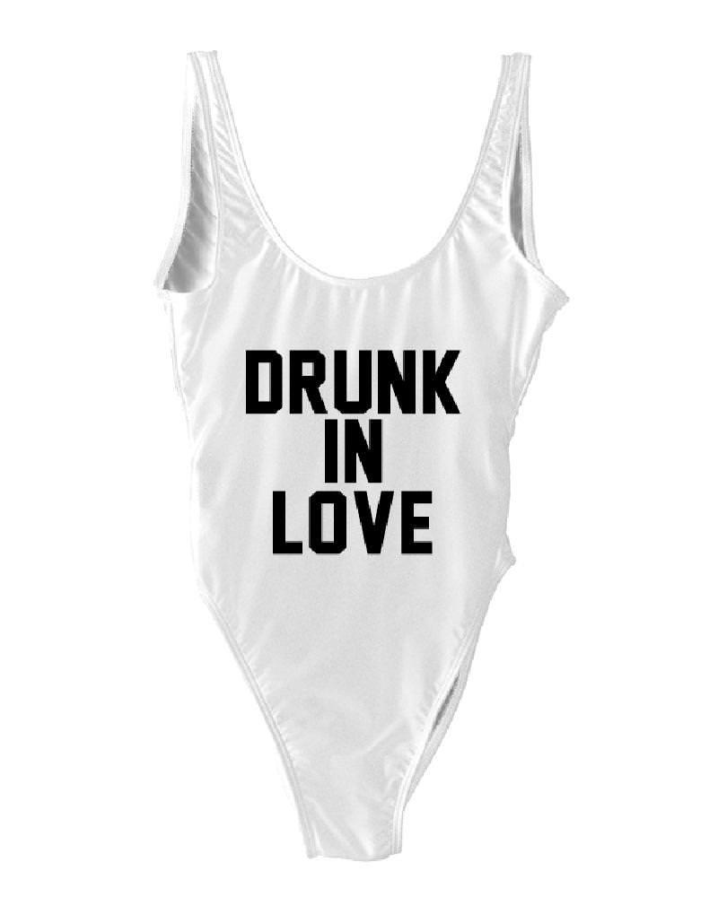 HK One Piece Drunk in Love Gift Bikini Letter Print Bride High Cut Wedding Shower Beachwear