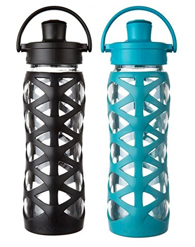 Lifefactory 22oz Glass Water Bottle- 2 Pack (Onyx/Ultramarine) by Lifefactory