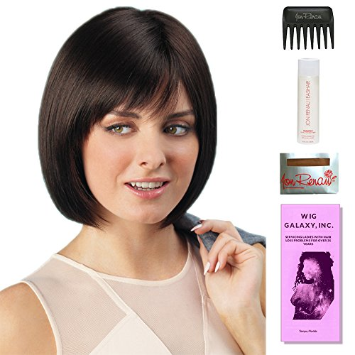 Erika by Amore, Wig Galaxy Hair Loss Booklet, 2oz Travel Size Wig Shampoo, Wig Cap, & Wide Tooth Comb (Bundle - 5 Items), Color Chosen: Cappuccino by Amore & Wig Galaxy
