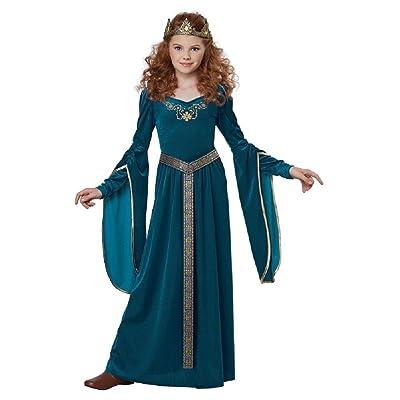 Medieval Princess Costume Renaissance Teal Dress Girls Childrens Gown SM-XL: Clothing