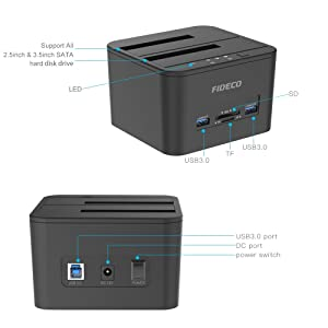 Hard Drive Docking Station, FIDECO USB 3.0 HDD Docking Station Dual-Bay External Hard Drive Dock with Offline Clone Function for 2.5/3.5 SATA HDD SSD, Support TF & SD Card (2x 10TB) (Color: Black)