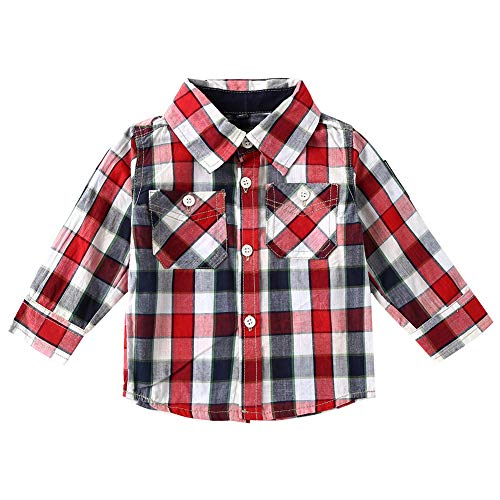 s Plaid Shirt Long Sleeve Turn-Down Collar Cotton Button Down Shirts Size 12-18 Months White and Red ()