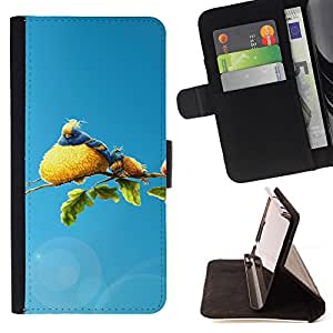 DEVIL CASE - FOR Apple Iphone 6 - Fluffy Big Bird Colorful Rainforest Art Tree - Style PU Leather Case Wallet Flip Stand Flap Closure Cover