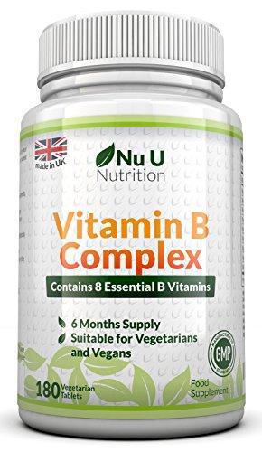 Vitamin B Complex 180 Tabletten - 6 Monatsversorgung - von Nu U Nutrition - enthält alle acht B-Vitamine, in 1 Tablette , Vitamine B1, B2, B3, B5 , B6, B12, D- Biotin und Folsäure