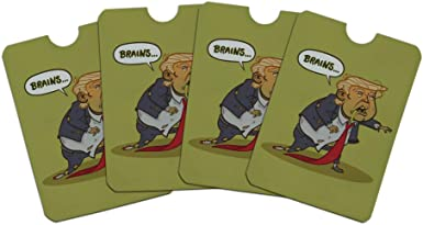 Donald Trump Undead Zombie Halloween Funny Credit Card RFID Blocker Holder Protector Wallet Purse Sleeves Set of 4