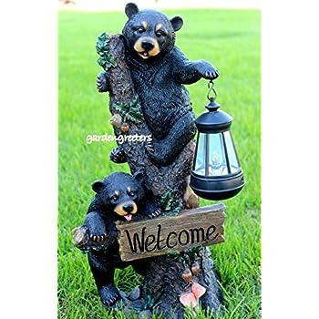 Bear Cubs With Solar Light Statue Solar Bear Lantern