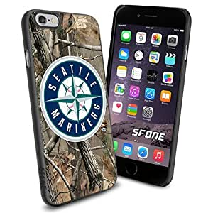 Seattle Mariners MLB Camo Logo WADE5757 Baseball iPhone 6 4.7 inch Case Protection Black Rubber Cover Protector