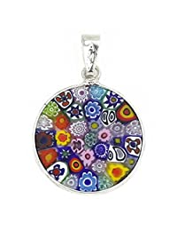 "Murano Glass Millefiori Pendant ""Multicolor"" in Silver Frame 3/4"""