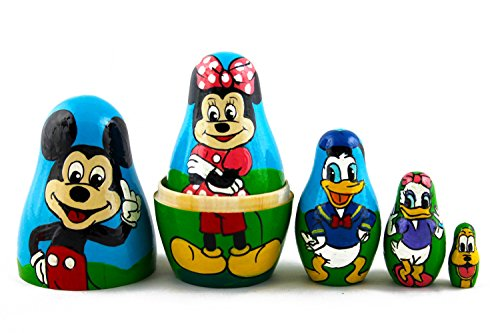 Matryoshka Babushka Russian Nesting Wooden Doll Cartoon Mickey Mouse Minnie Donald Duck Babouska Matrioska Stacking 5 Pcs by MATRYOSHKA&HANDICRAFT (Image #5)