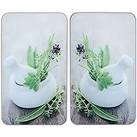 WENKO Plaque de protection en verre universel Herbes - set de 2, pour tous les types de cuisinières, Verre trempé, 30 x 52 cm, Multicolore