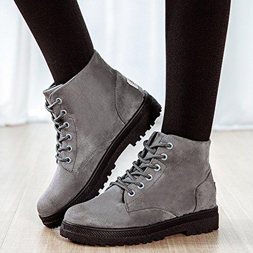 Botines Calentar Sintética para Invierno Botas cómodo interno casual gris antideslizantes Zapatos Planos lana Nieve Arriba Cálido Cordón zapatillas Botas y Mujer Gracosy 0qpSxx
