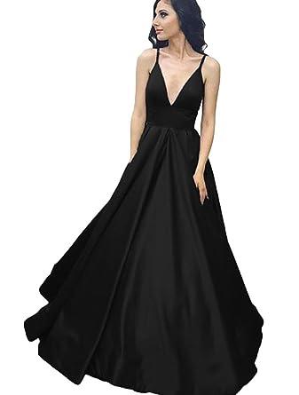 Dressesonline Womens Spaghetti Straps V-Neck Prom Dresses Backless Formal Evening Dress US2
