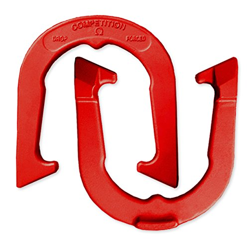 (Competition Tournament Pitching Horseshoes - Red Finish - NHPA Sanctioned for Tournament & League Play - Drop Forged Construction - One Pair (2)
