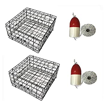 Image of Blinds KUFA 2-Pack Vinyl Coated Crab Trap with Float and Rope Combo–(S60+FWM100) X2