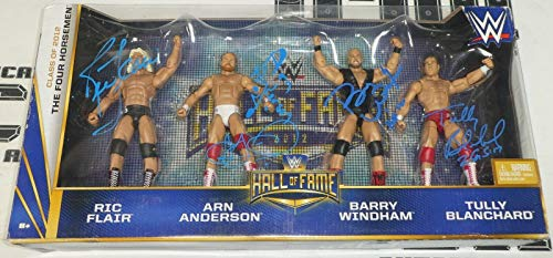 (Ric Flair Arn Anderson Barry Windham +2 Signed WWE 4 Horsemen Action Figure Set - Autographed Wrestling Cards)