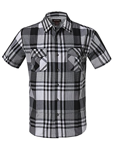 Style by William SBW Mens Western Casual Chest Pockets Button Down Shirts