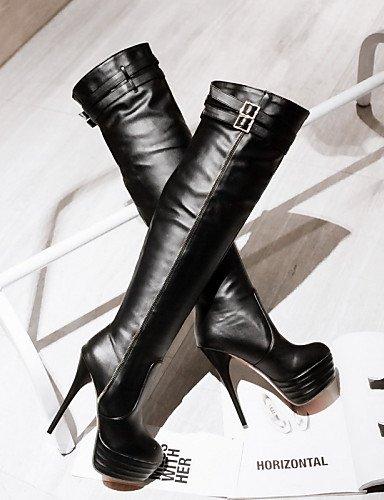 Blanco Xzz Casual La De Moda A Black Uk7 us9 Redonda 10 Zapatos Negro Vestido Botas 5 Semicuero 8 us8 5 Punta Beige Stiletto Tacón White Cn42 Eu39 Cn40 Mujer Eu41 Eu4 5 5 Uk6 x7xwzZ