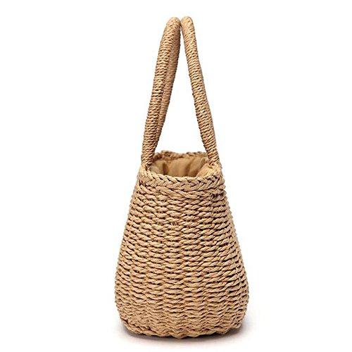 sac plage petit à rotin femmes seau vacances la herbe à Marron Bohème panier à fourre main tissé tissé main main la INS la main paille été de marron xw6qaXA0q