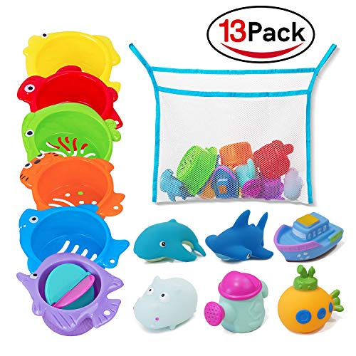 Holybird Bath Toys and Stacking Cups Baby Toys (13 Pack) for Toddlers, Early Educational Toddler Toys with Bath Toy Organizer, BPA Free Recommended Baby Toys for 0 1 2 3 ()