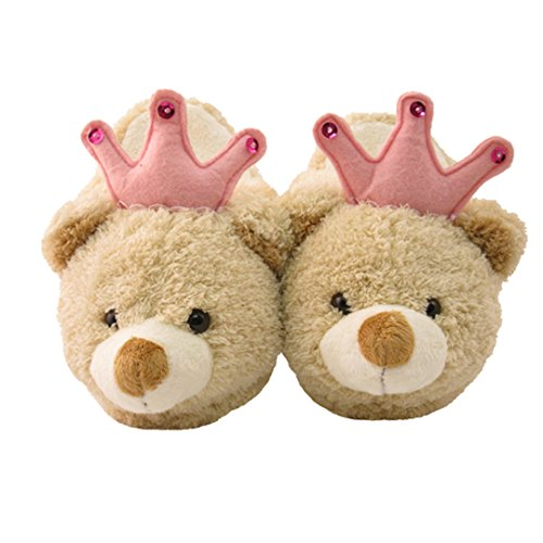 [Kid's/Children's Non-Slip Plush Animal Character Slippers (Brown and Pink Princess Bear)] (Kitten Bear Costume)
