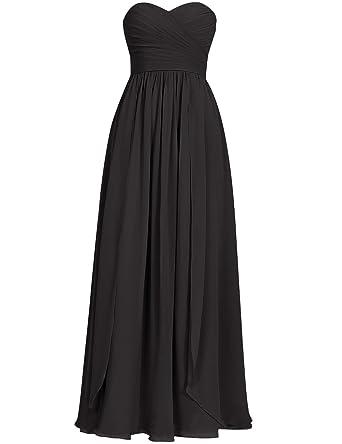 Cdress Sweetheart Long Bridesmaid Dresses Chiffon Prom Dress Evening Formal Gowns Black US 2