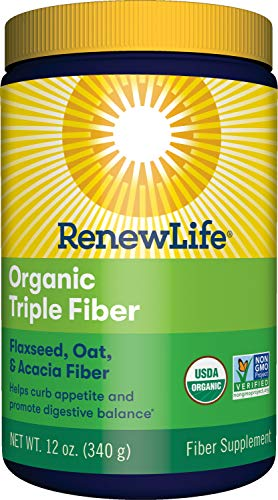 Renew Life Adult Fiber Supplement – Organic Triple Fiber – Dietary Fiber – Dairy & Soy Free – 12 Ounce, (Packaging May Vary)